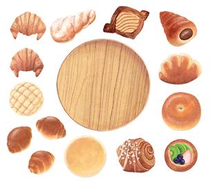 パンと木のお皿_バラのイラスト素材 [FYI01810127]