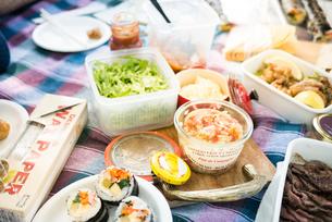 おしゃれなピクニックでの料理の写真素材 [FYI01810258]