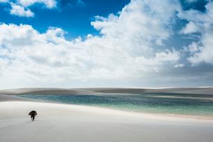 レンソイスの白砂の砂漠と湖を歩くの写真素材 [FYI01810411]
