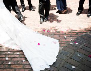 ウェディングドレスとフラワーシャワーの写真素材 [FYI01810416]