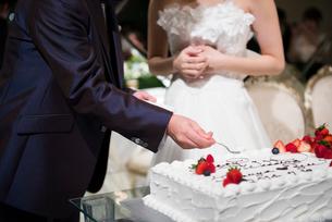 結婚式のケーキカットとファーストバイトの写真素材 [FYI01810579]