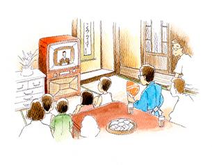 お茶の間でテレビを囲む昭和の家族のイラスト素材 [FYI01810719]