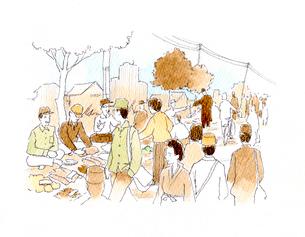 露店で日用品を売買している戦後昭和の闇市のイラスト素材 [FYI01810732]