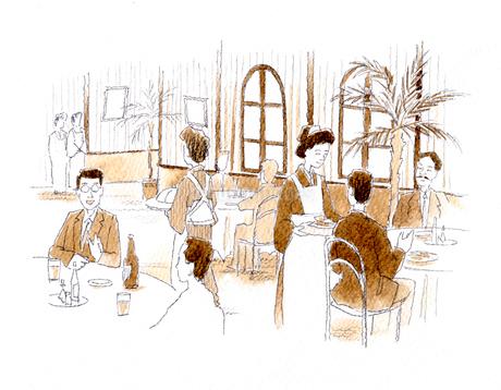 食事とお酒を愉しむ人で盛況な大正時代の西洋料理店のイラスト素材 [FYI01810786]