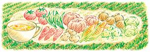 収穫野菜とスープのイラスト素材 [FYI01810917]