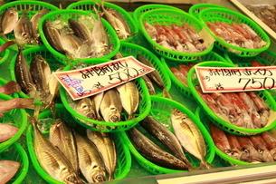 市場で売られている新鮮な魚の写真素材 [FYI01811301]