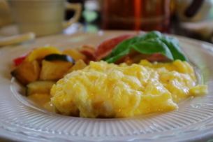 緑豊かな軽井沢の森にあるカフェのスクランブルエッグの写真素材 [FYI01811561]