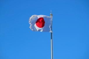 風を受ける日本国旗の写真素材 [FYI01811589]