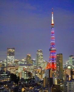ダイヤモンドヴェールにライトアップされた東京タワーの写真素材 [FYI01811783]