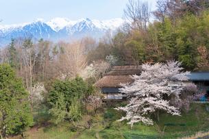 中川村の茅葺屋根と中央アルプスの写真素材 [FYI01812025]