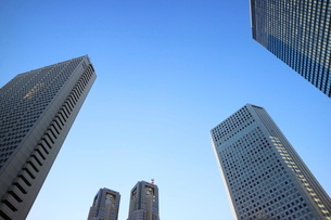 新宿副都心の高層ビルを見上げての写真素材 [FYI01812176]