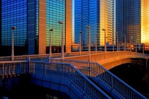 夕日をあびる幕張のビル群の写真素材 [FYI01813442]
