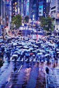 雨の夜に混雑する渋谷スクランブル交差点の写真素材 [FYI01814460]