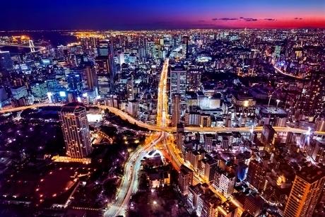 東京タワー特別展望台から見る地上の東京タワーの写真素材 [FYI01814489]