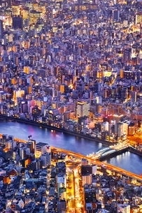東京スカイツリーより望む都市夕景の写真素材 [FYI01814601]