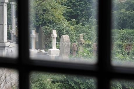 窓越しに見る横浜外国人墓地の写真素材 [FYI01814644]