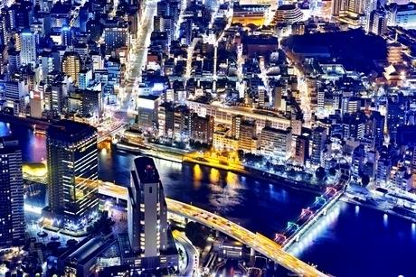 東京スカイツリーより望む浅草の夜景の写真素材 [FYI01814688]