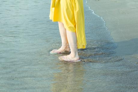 浜辺を歩く女性の写真素材 [FYI01814759]