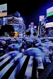 雨の夜に混雑する渋谷スクランブル交差点の写真素材 [FYI01814790]