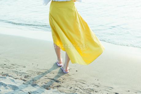 浜辺を歩く女性の写真素材 [FYI01814844]
