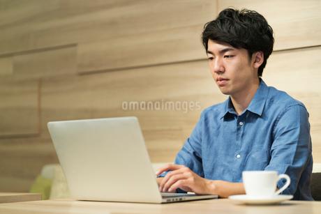 カフェスペースで仕事をする20代ビジネスマンの写真素材 [FYI01814937]