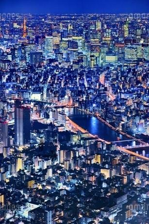 東京スカイツリーより望む都市夜景の写真素材 [FYI01815017]