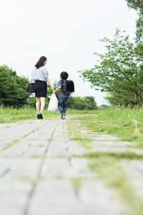 買い物袋を持って歩く親子の後ろ姿の写真素材 [FYI01815164]