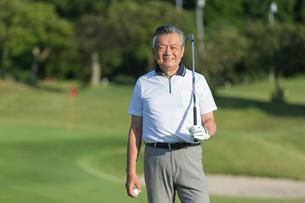 ゴルフをするシニア男性のポートレイトの写真素材 [FYI01815304]