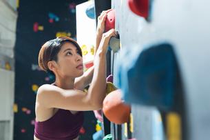ボルダリングをする若い女性の写真素材 [FYI01815491]