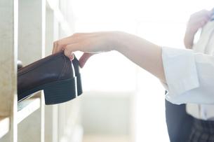 下駄箱に靴を入れる女子高校生の手元の写真素材 [FYI01815523]