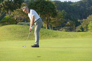 ゴルフをするシニア男性の写真素材 [FYI01815671]