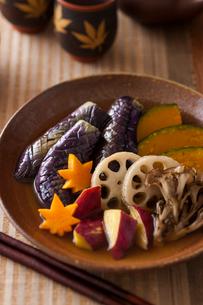 秋野菜の揚げ浸しの写真素材 [FYI01815978]