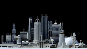 モノトーン調の未来都市の写真素材 [FYI01816074]