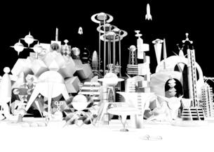 未来都市 宇宙 モノクロ 3Dの写真素材 [FYI01816096]