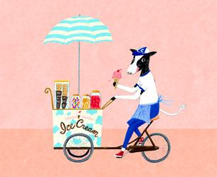 アイスクリームを売る牛のイラスト素材 [FYI01816139]
