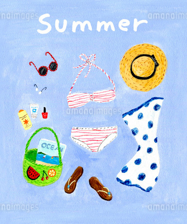 夏の海に持って行く水着などのイラスト素材 [FYI01816142]
