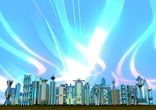 飛び交う情報 明るい未来都市の写真素材 [FYI01816158]