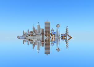 水面に映る未来都市の写真素材 [FYI01816191]