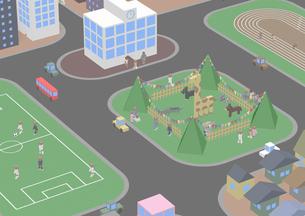 俯瞰の街 動物園 サッカー場 トラックのイラスト素材 [FYI01816205]