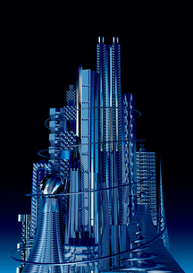 夜景 青く輝く未来都市の写真素材 [FYI01816210]