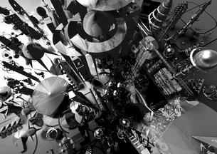 未来都市 宇宙 モノクロ 3D 反射の写真素材 [FYI01816219]