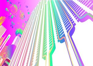 見上げるレインボーカラーの未来都市 バーチャルイメージの写真素材 [FYI01816220]