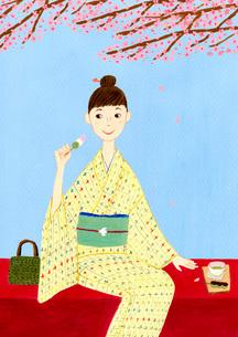 桜の下で団子を食べる着物を着た女性のイラスト素材 [FYI01816265]
