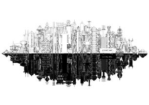 鏡像 線画の未来都市の写真素材 [FYI01816406]