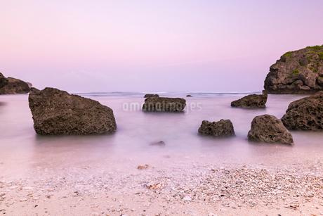 沖縄県 夜明けの海岸の写真素材 [FYI01816484]