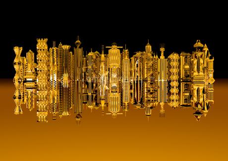 黄金の未来都市の写真素材 [FYI01816564]