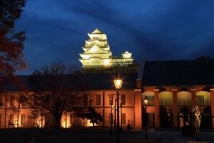 姫路城・姫路市立美術館ライトアップの写真素材 [FYI01816805]
