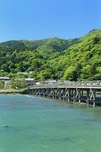 新緑の嵐山と渡月橋の写真素材 [FYI01817791]