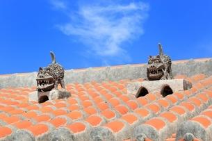 竹富島 赤瓦屋根とシーサーの写真素材 [FYI01817880]