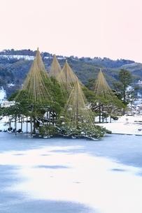 雪の兼六園 唐崎松と霞ヶ池の写真素材 [FYI01818081]